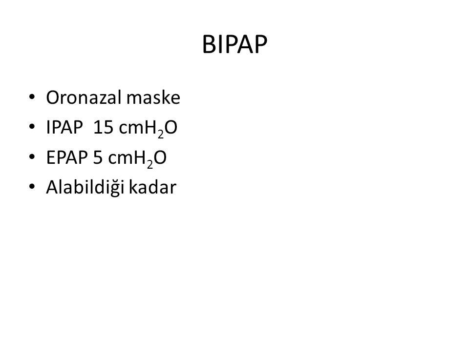BIPAP Oronazal maske IPAP 15 cmH 2 O EPAP 5 cmH 2 O Alabildiği kadar