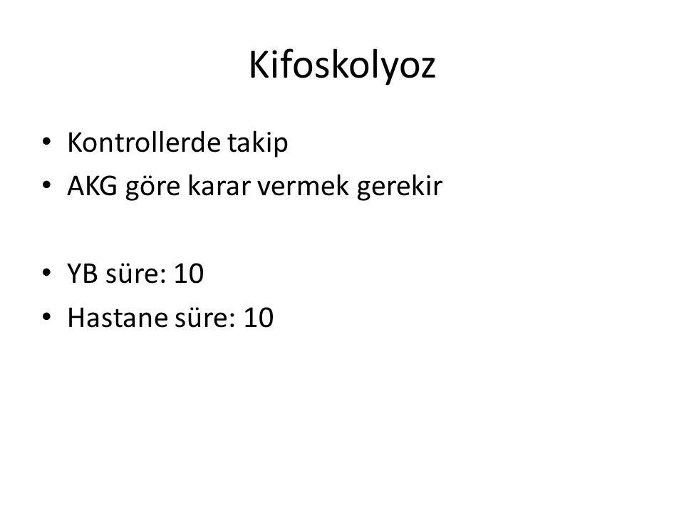 Kifoskolyoz Kontrollerde takip AKG göre karar vermek gerekir YB süre: 10 Hastane süre: 10