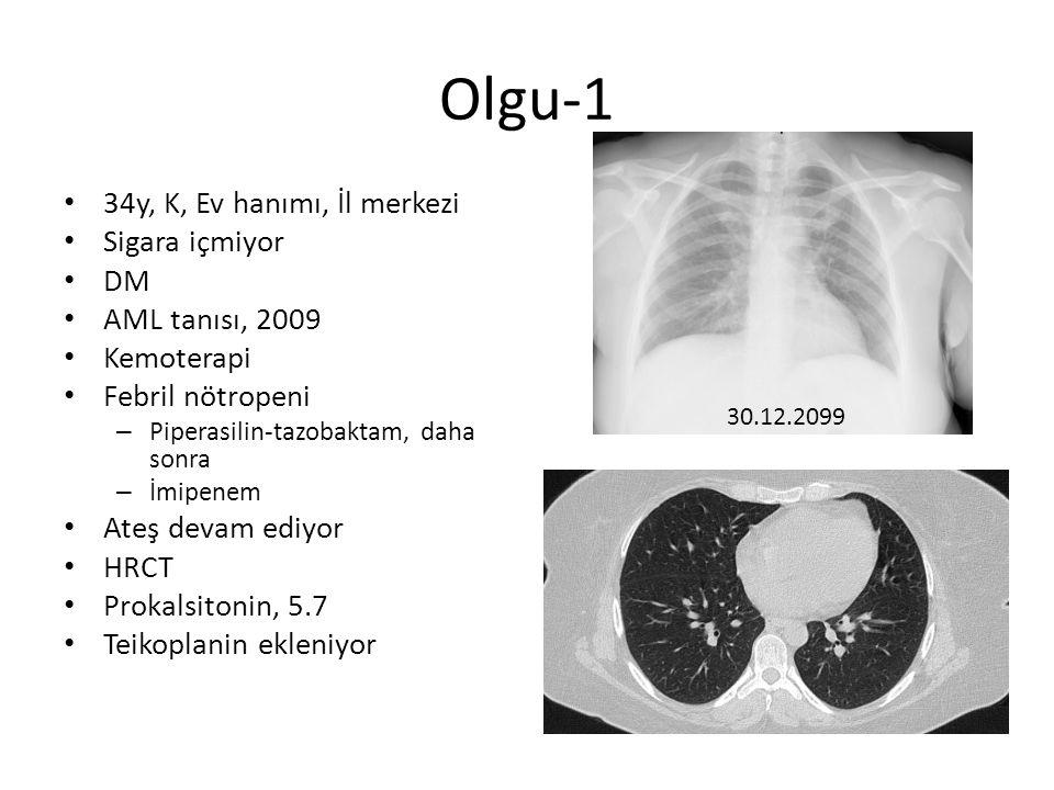 Olgu-1 34y, K, Ev hanımı, İl merkezi Sigara içmiyor DM AML tanısı, 2009 Kemoterapi Febril nötropeni – Piperasilin-tazobaktam, daha sonra – İmipenem At