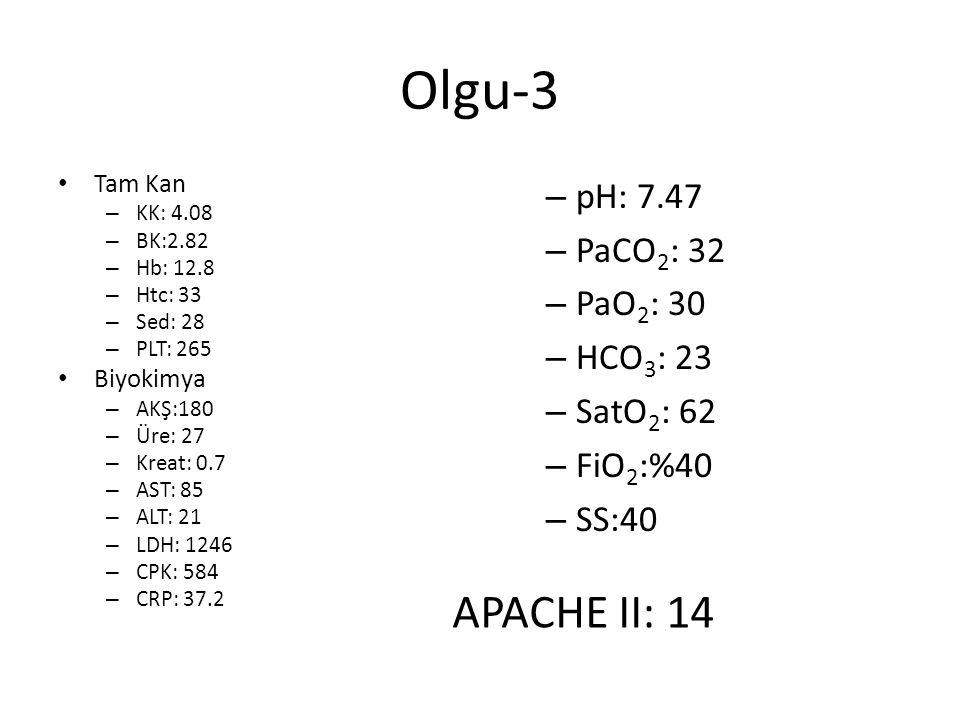 Olgu-3 Tam Kan – KK: 4.08 – BK:2.82 – Hb: 12.8 – Htc: 33 – Sed: 28 – PLT: 265 Biyokimya – AKŞ:180 – Üre: 27 – Kreat: 0.7 – AST: 85 – ALT: 21 – LDH: 12