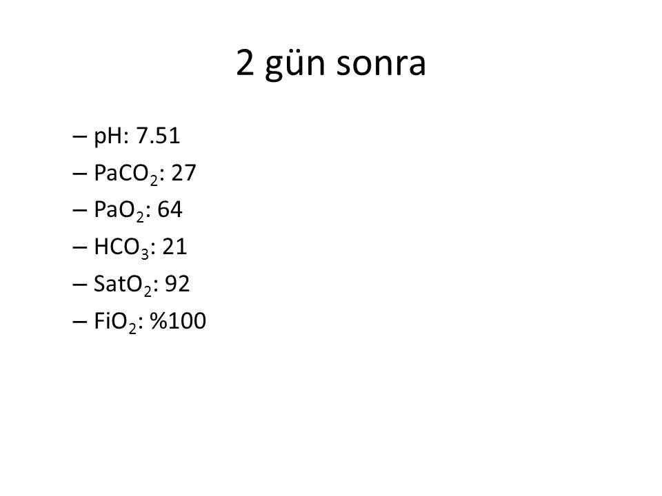 2 gün sonra – pH: 7.51 – PaCO 2 : 27 – PaO 2 : 64 – HCO 3 : 21 – SatO 2 : 92 – FiO 2 : %100