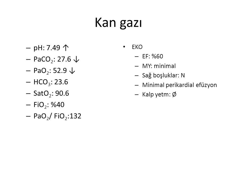 Kan gazı – pH: 7.49 ↑ – PaCO 2 : 27.6 ↓ – PaO 2 : 52.9 ↓ – HCO 3 : 23.6 – SatO 2 : 90.6 – FiO 2 : %40 – PaO 2 / FiO 2 :132 EKO – EF: %60 – MY: minimal