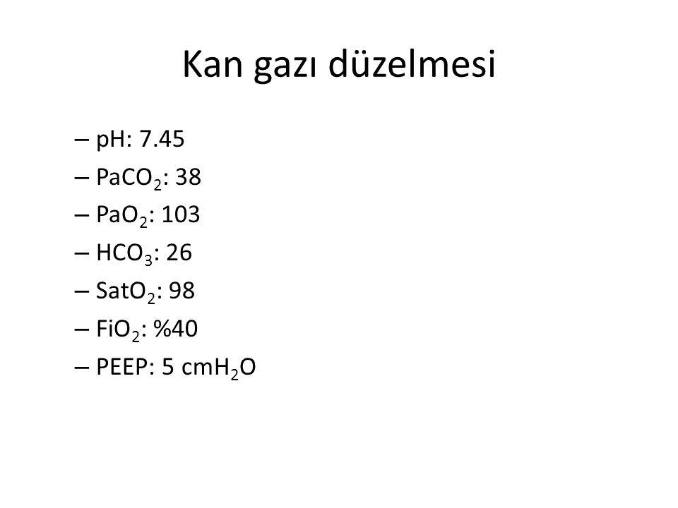 Kan gazı düzelmesi – pH: 7.45 – PaCO 2 : 38 – PaO 2 : 103 – HCO 3 : 26 – SatO 2 : 98 – FiO 2 : %40 – PEEP: 5 cmH 2 O