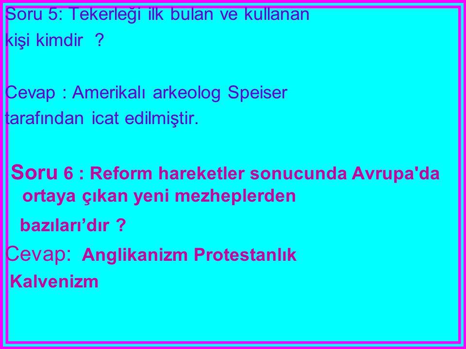 Soru 7:Reformun sonuçları nelerdir .Cevap :Katolik kilisesi kendini düzeltme zorunda kaldı.