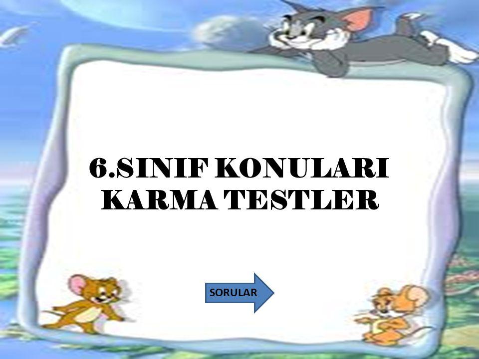 6.SINIF KONULARI KARMA TESTLER SORULAR