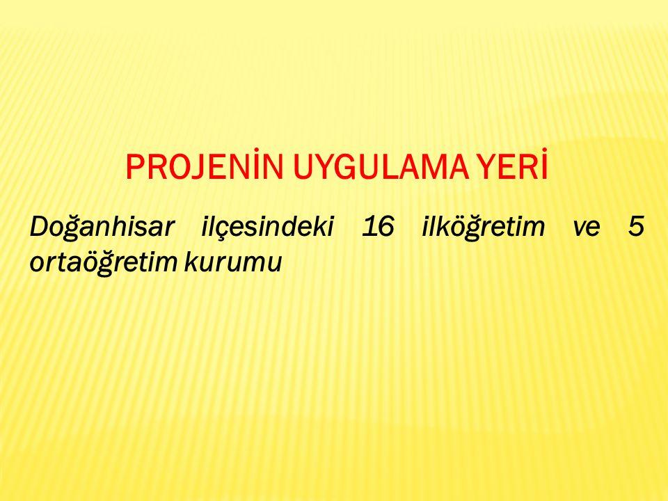 PROJENİN UYGULAMA YERİ Doğanhisar ilçesindeki 16 ilköğretim ve 5 ortaöğretim kurumu