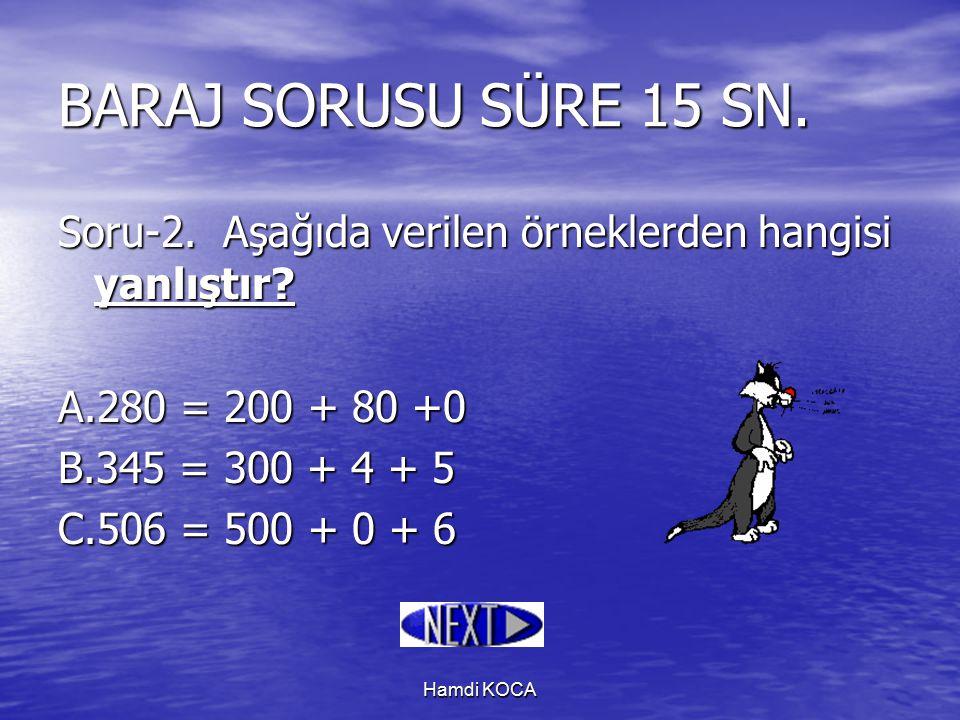 Hamdi KOCA Soru-2. Aşağıda verilen örneklerden hangisi yanlıştır? A.280 = 200 + 80 +0 B.345 = 300 + 4 + 5 C.506 = 500 + 0 + 6 BARAJ SORUSU SÜRE 15 SN.