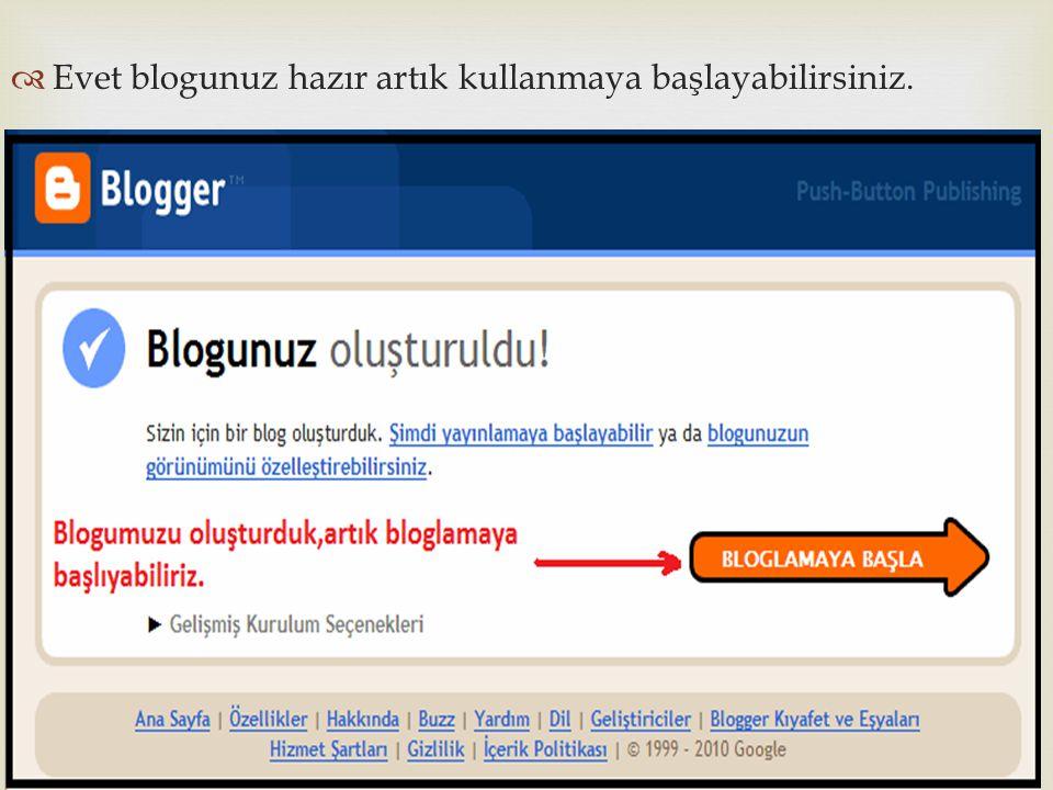   Evet blogunuz hazır artık kullanmaya başlayabilirsiniz.
