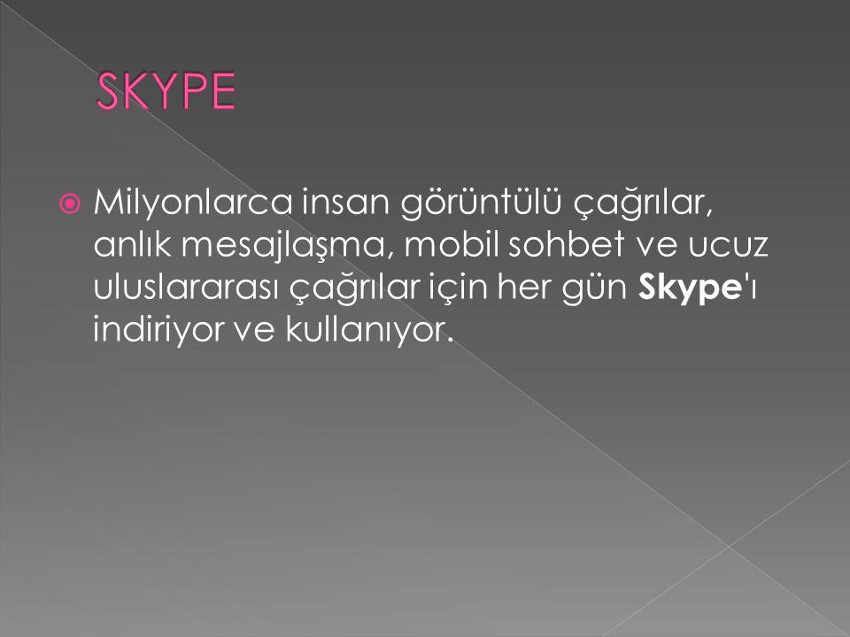  Milyonlarca insan görüntülü çağrılar, anlık mesajlaşma, mobil sohbet ve ucuz uluslararası çağrılar için her gün Skype ı indiriyor ve kullanıyor.