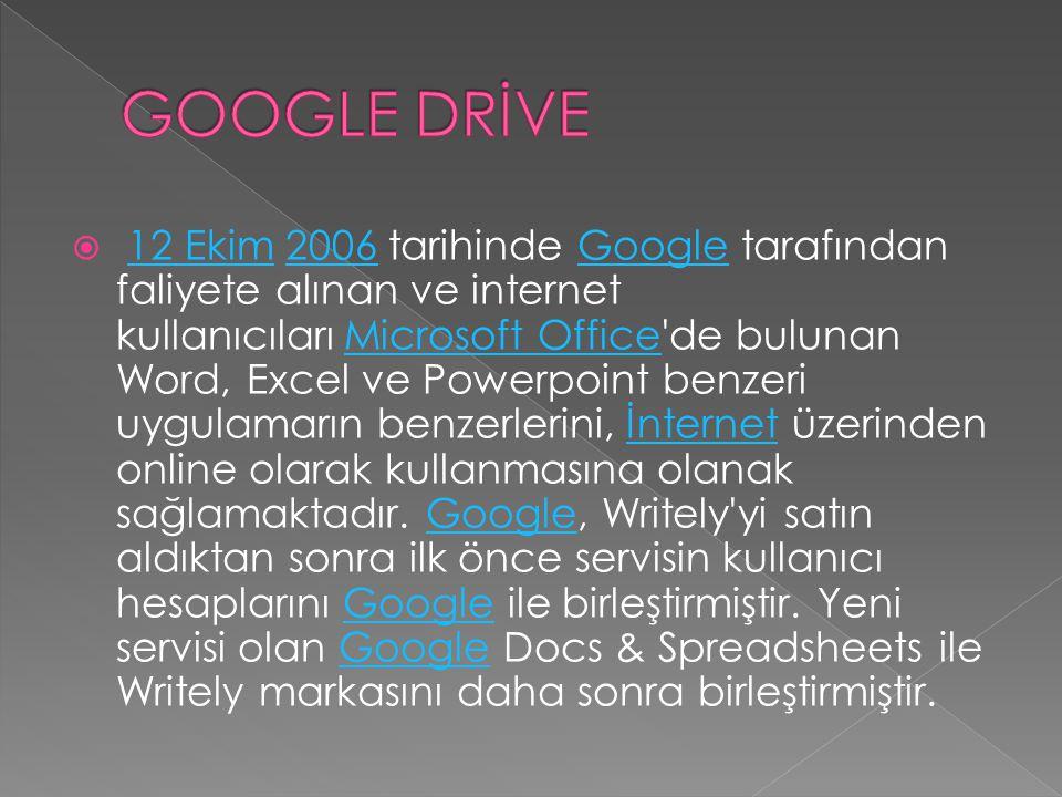  12 Ekim 2006 tarihinde Google tarafından faliyete alınan ve internet kullanıcıları Microsoft Office'de bulunan Word, Excel ve Powerpoint benzeri uyg