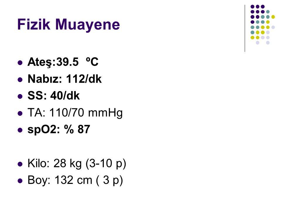 Fizik Muayene Ateş:39.5 ºC Nabız: 112/dk SS: 40/dk TA: 110/70 mmHg spO2: % 87 Kilo: 28 kg (3-10 p) Boy: 132 cm ( 3 p)