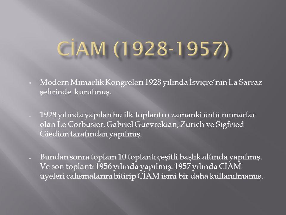  CIAM 1.La Sarraz, İsviçre 1928  CIAM 2. Franfurt 1929.
