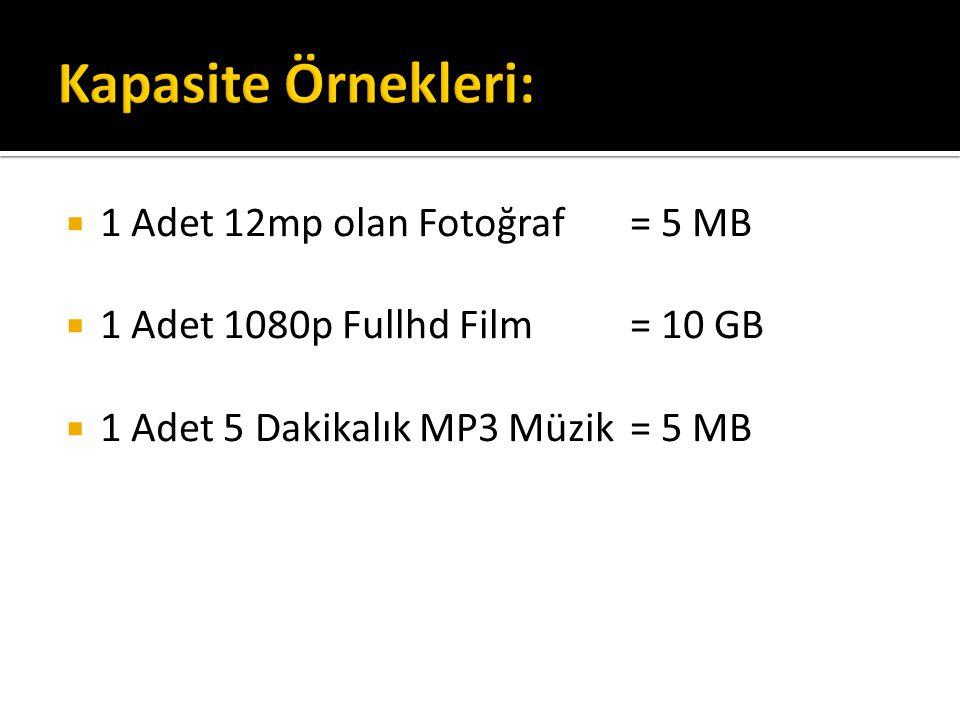  1 Adet 12mp olan Fotoğraf= 5 MB  1 Adet 1080p Fullhd Film= 10 GB  1 Adet 5 Dakikalık MP3 Müzik= 5 MB