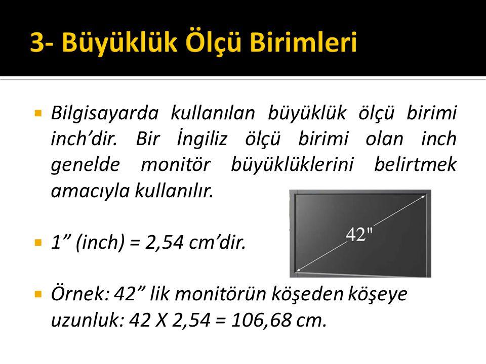 BBilgisayarda kullanılan büyüklük ölçü birimi inch'dir.
