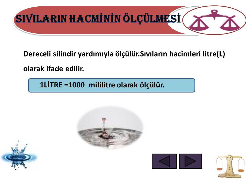 Dereceli silindir yardımıyla ölçülür.Sıvıların hacimleri litre(L) olarak ifade edilir. 1LİTRE =1000 mililitre olarak ölçülür.