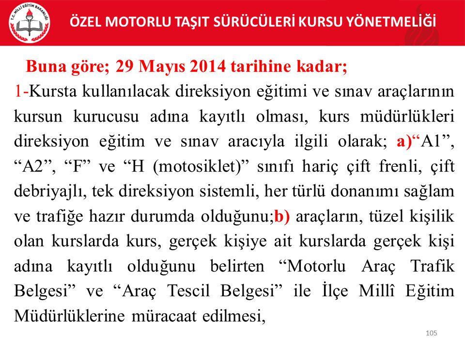 105 ÖZEL MOTORLU TAŞIT SÜRÜCÜLERİ KURSU YÖNETMELİĞİ 105 Buna göre; 29 Mayıs 2014 tarihine kadar; 1-Kursta kullanılacak direksiyon eğitimi ve sınav ara