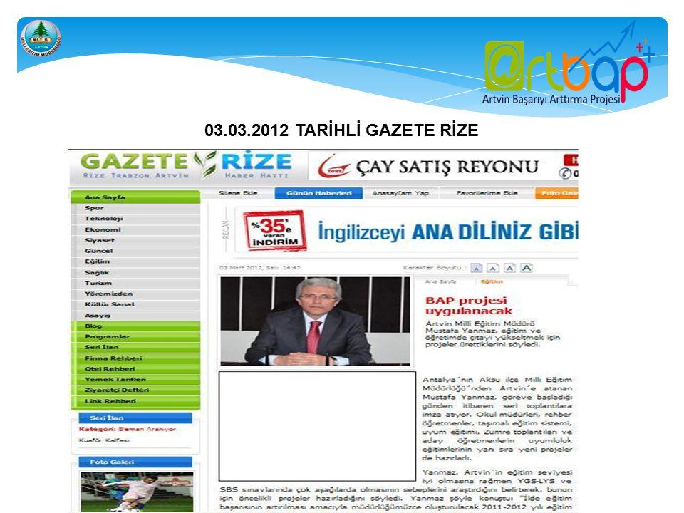 03.03.2012 TARİHLİ GAZETE RİZE