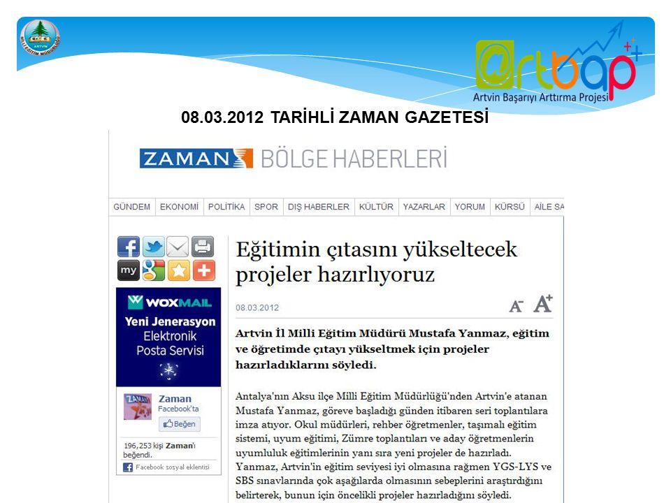 08.03.2012 TARİHLİ ZAMAN GAZETESİ
