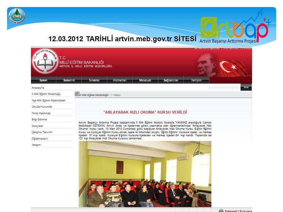 12.03.2012 TARİHLİ artvin.meb.gov.tr SİTESİ
