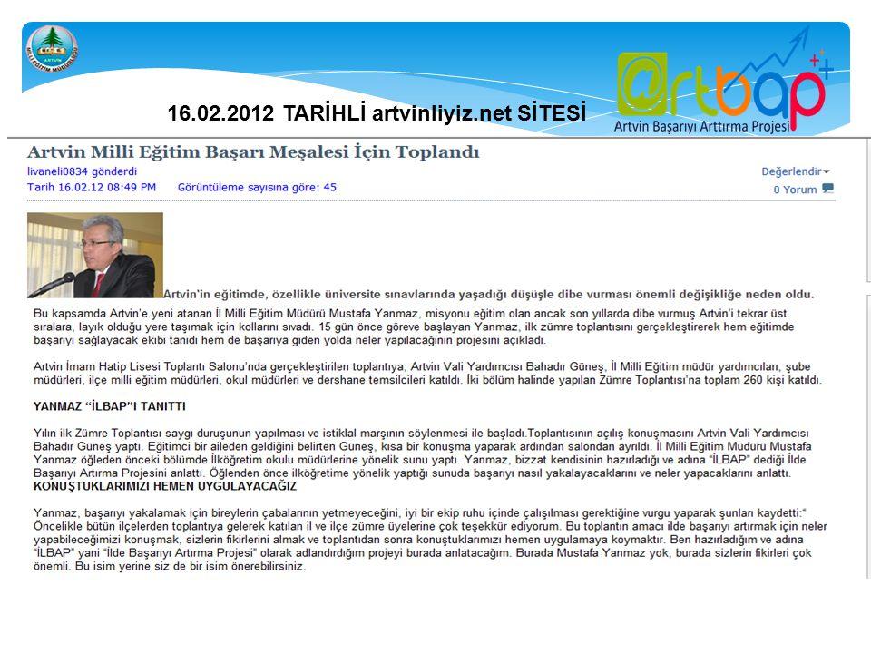 16.02.2012 TARİHLİ artvinliyiz.net SİTESİ