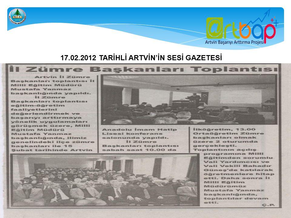 ARTBAP VE AYPOP PROJELERİ İNTERNET SİTELERİNDE ÇIKAN HABERLER 2012 ARTVİN