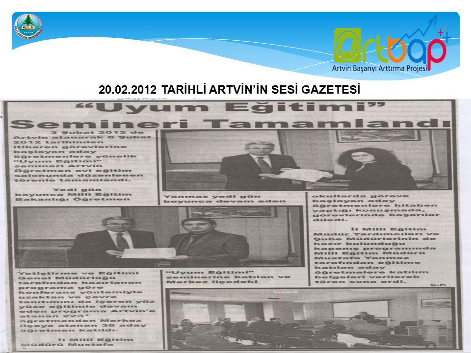 16.03.2012 TARİHLİ ARTVİN'İN SESİ GAZETESİ