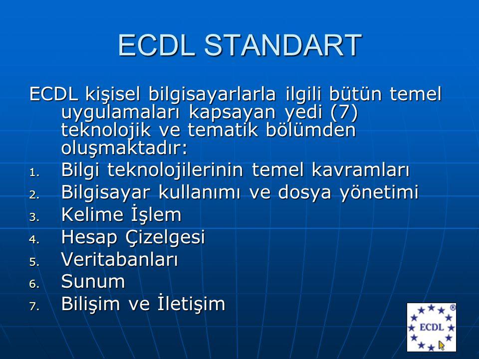 ECDL STANDART ECDL kişisel bilgisayarlarla ilgili bütün temel uygulamaları kapsayan yedi (7) teknolojik ve tematik bölümden oluşmaktadır: 1.