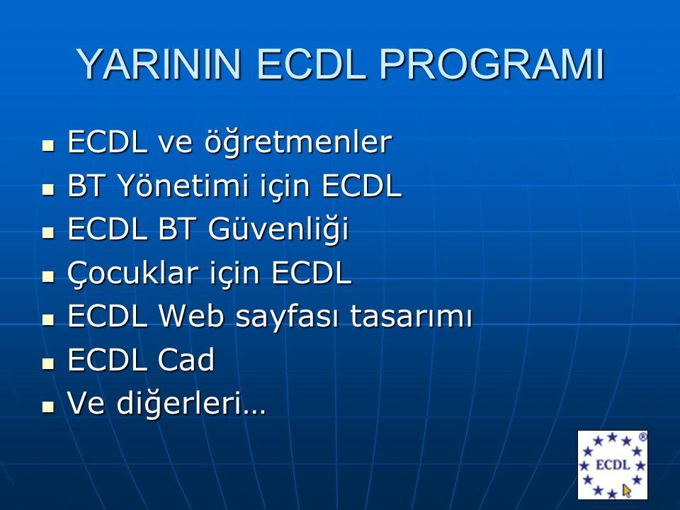 YARININ ECDL PROGRAMI ECDL ve öğretmenler ECDL ve öğretmenler BT Yönetimi için ECDL BT Yönetimi için ECDL ECDL BT Güvenliği ECDL BT Güvenliği Çocuklar için ECDL Çocuklar için ECDL ECDL Web sayfası tasarımı ECDL Web sayfası tasarımı ECDL Cad ECDL Cad Ve diğerleri… Ve diğerleri…