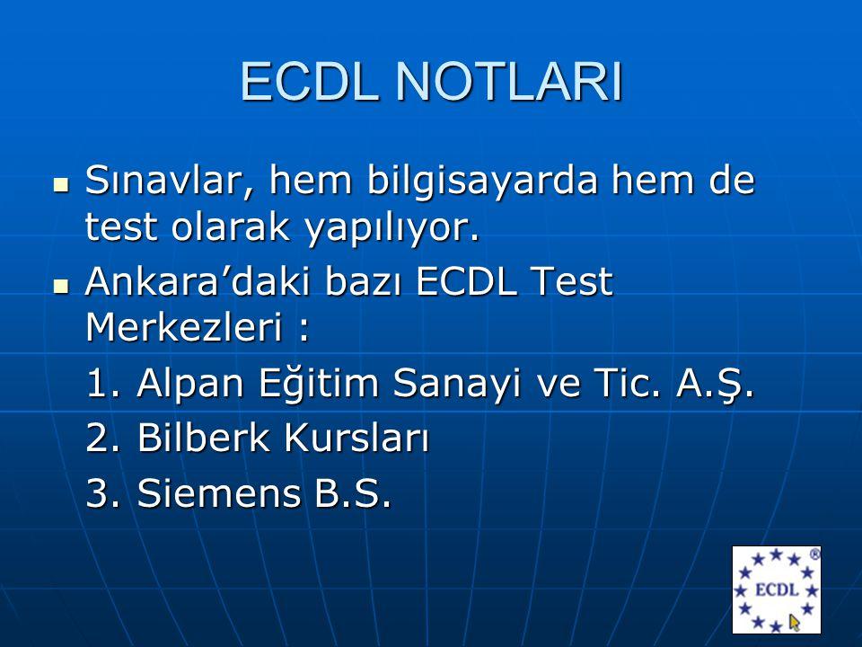 ECDL NOTLARI Sınavlar, hem bilgisayarda hem de test olarak yapılıyor.