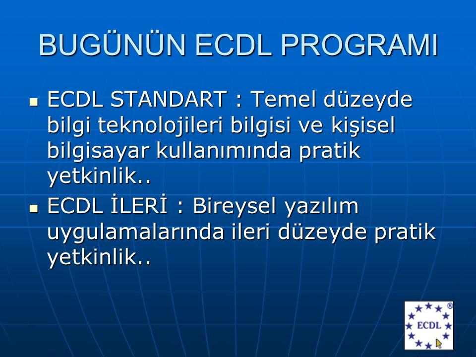 BUGÜNÜN ECDL PROGRAMI ECDL STANDART : Temel düzeyde bilgi teknolojileri bilgisi ve kişisel bilgisayar kullanımında pratik yetkinlik..