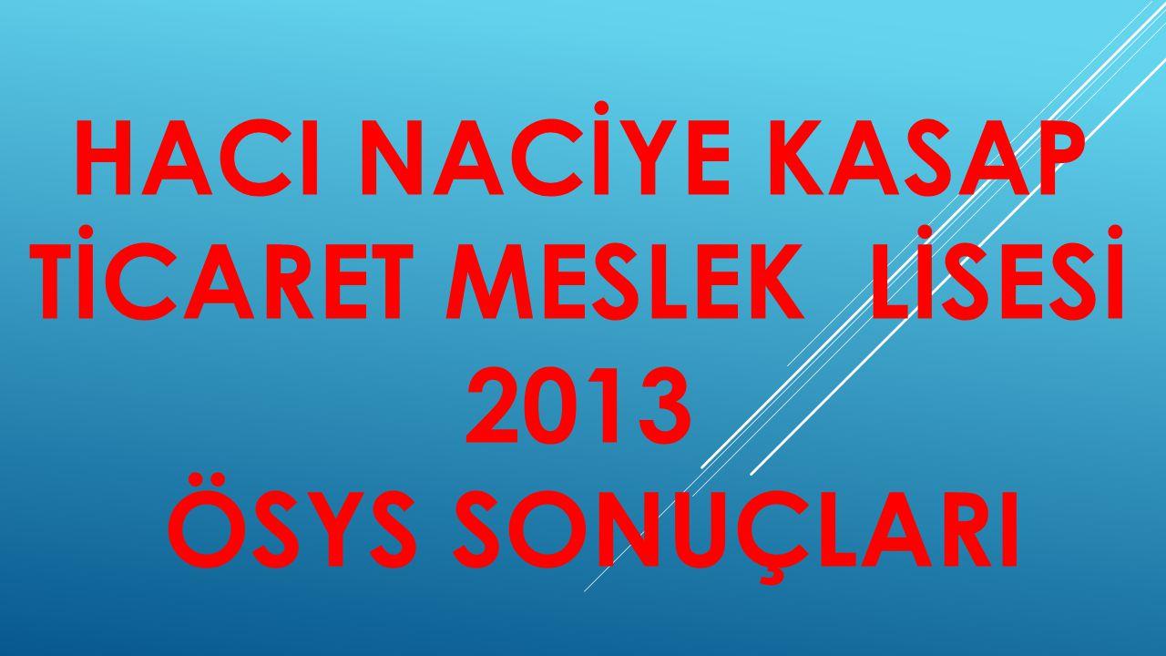 HACI NACİYE KASAP TİCARET MESLEK LİSESİ 2013 ÖSYS SONUÇLARI
