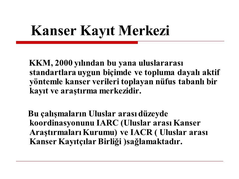 KKM, 2000 yılından bu yana uluslararası standartlara uygun biçimde ve topluma dayalı aktif yöntemle kanser verileri toplayan nüfus tabanlı bir kayıt v