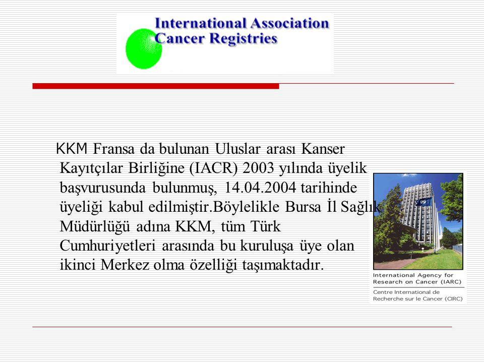 KKM Fransa da bulunan Uluslar arası Kanser Kayıtçılar Birliğine (IACR) 2003 yılında üyelik başvurusunda bulunmuş, 14.04.2004 tarihinde üyeliği kabul edilmiştir.Böylelikle Bursa İl Sağlık Müdürlüğü adına KKM, tüm Türk Cumhuriyetleri arasında bu kuruluşa üye olan ikinci Merkez olma özelliği taşımaktadır.