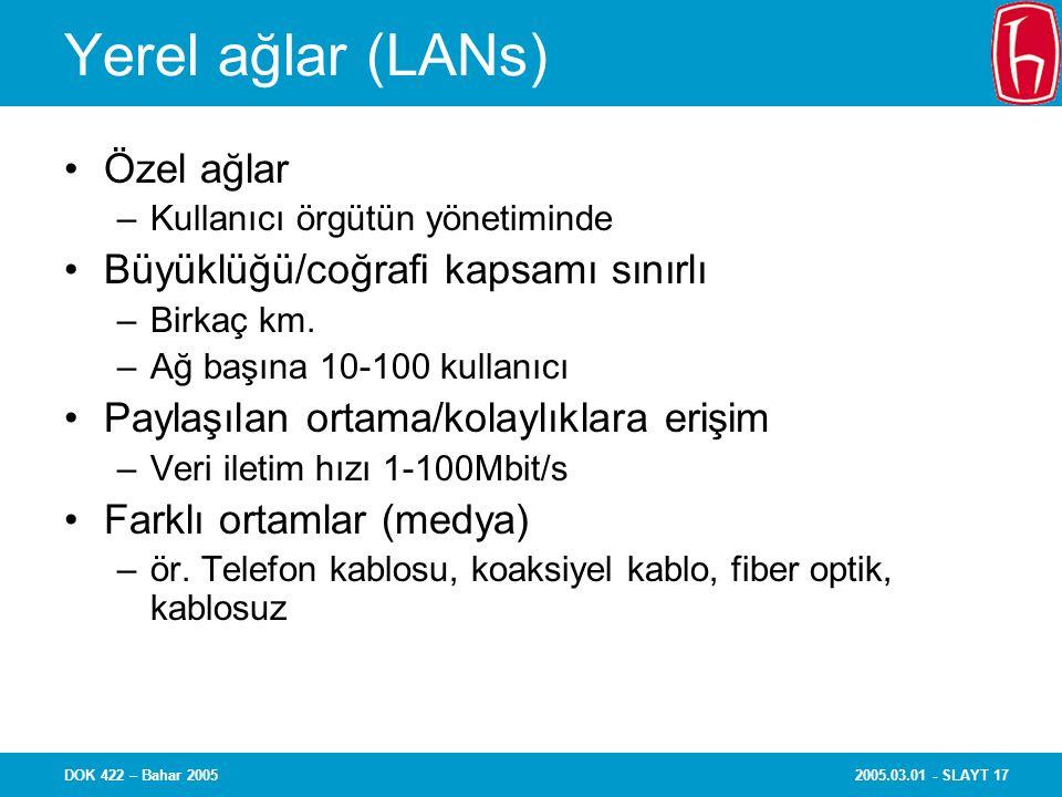 2005.03.01 - SLAYT 17DOK 422 – Bahar 2005 Yerel ağlar (LANs) Özel ağlar –Kullanıcı örgütün yönetiminde Büyüklüğü/coğrafi kapsamı sınırlı –Birkaç km.