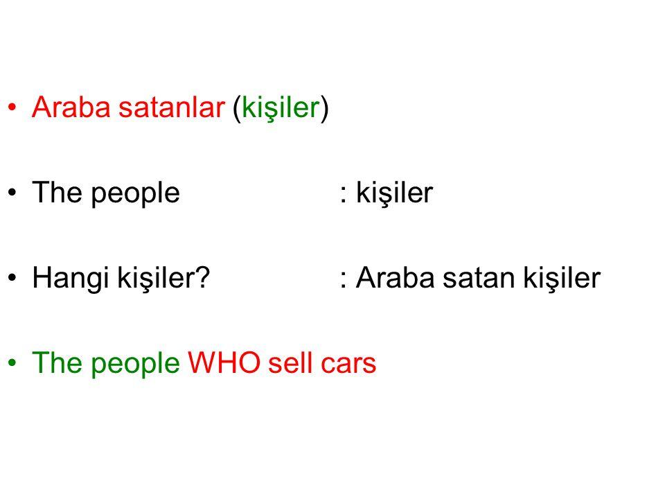 Araba satanlar (kişiler) The people: kişiler Hangi kişiler?: Araba satan kişiler The people WHO sell cars