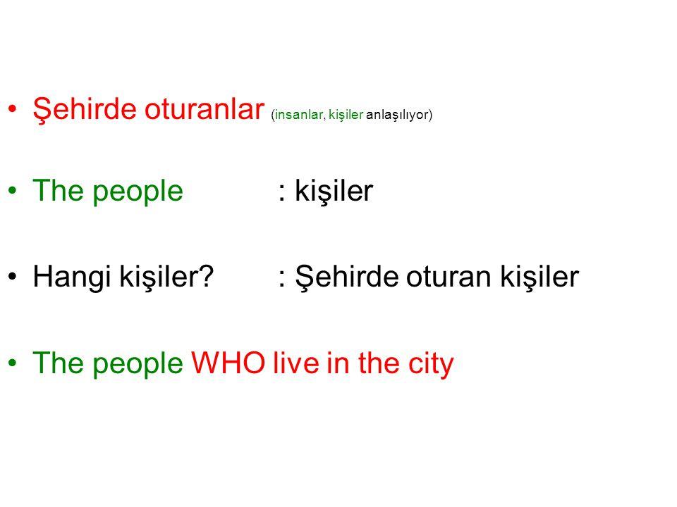 Şehirde oturanlar (insanlar, kişiler anlaşılıyor) The people: kişiler Hangi kişiler? : Şehirde oturan kişiler The people WHO live in the city