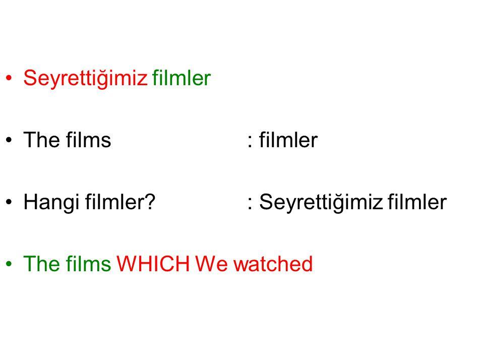 Seyrettiğimiz filmler The films: filmler Hangi filmler? : Seyrettiğimiz filmler The films WHICH We watched