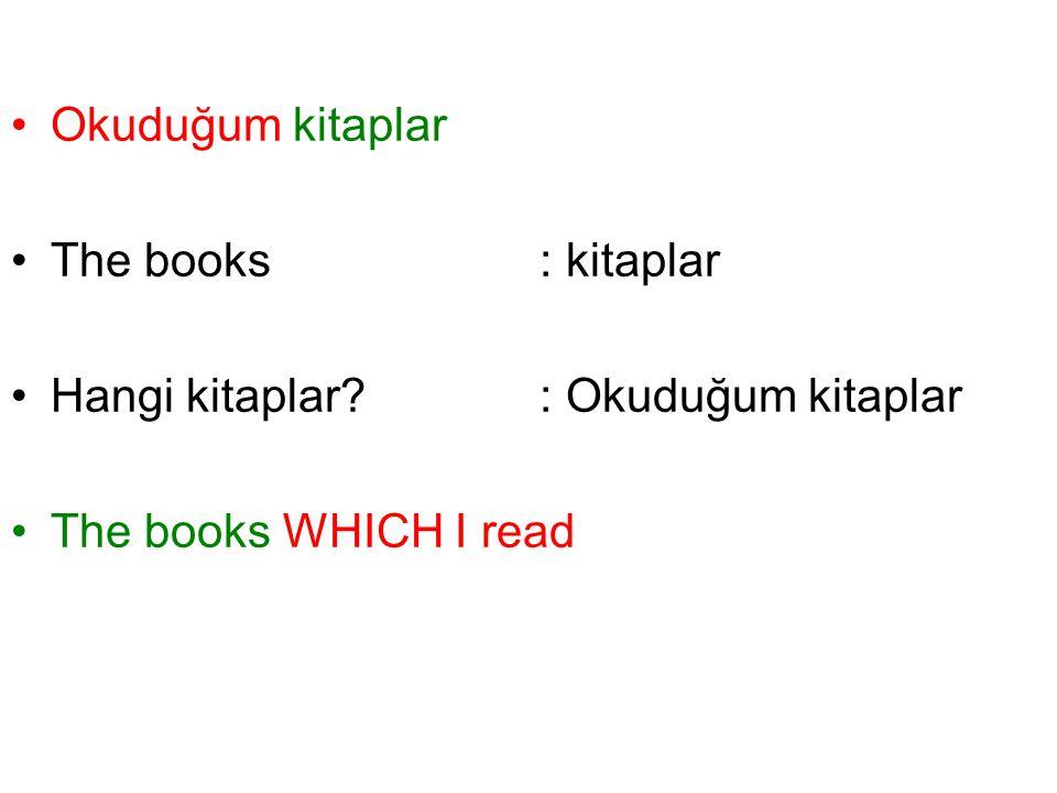 Okuduğum kitaplar The books: kitaplar Hangi kitaplar? : Okuduğum kitaplar The books WHICH I read