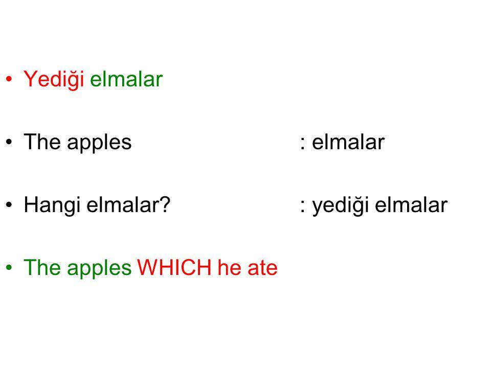 Yediği elmalar The apples: elmalar Hangi elmalar? : yediği elmalar The apples WHICH he ate