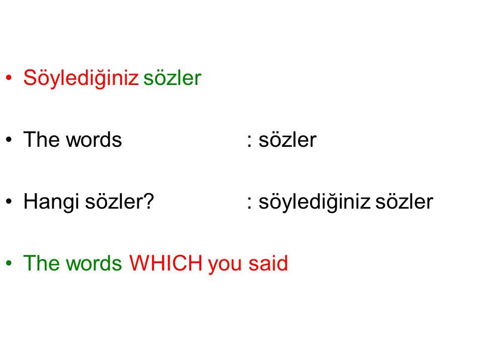 Söylediğiniz sözler The words: sözler Hangi sözler? : söylediğiniz sözler The words WHICH you said