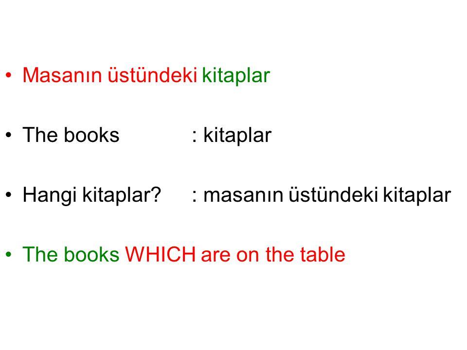 Masanın üstündeki kitaplar The books: kitaplar Hangi kitaplar? : masanın üstündeki kitaplar The books WHICH are on the table
