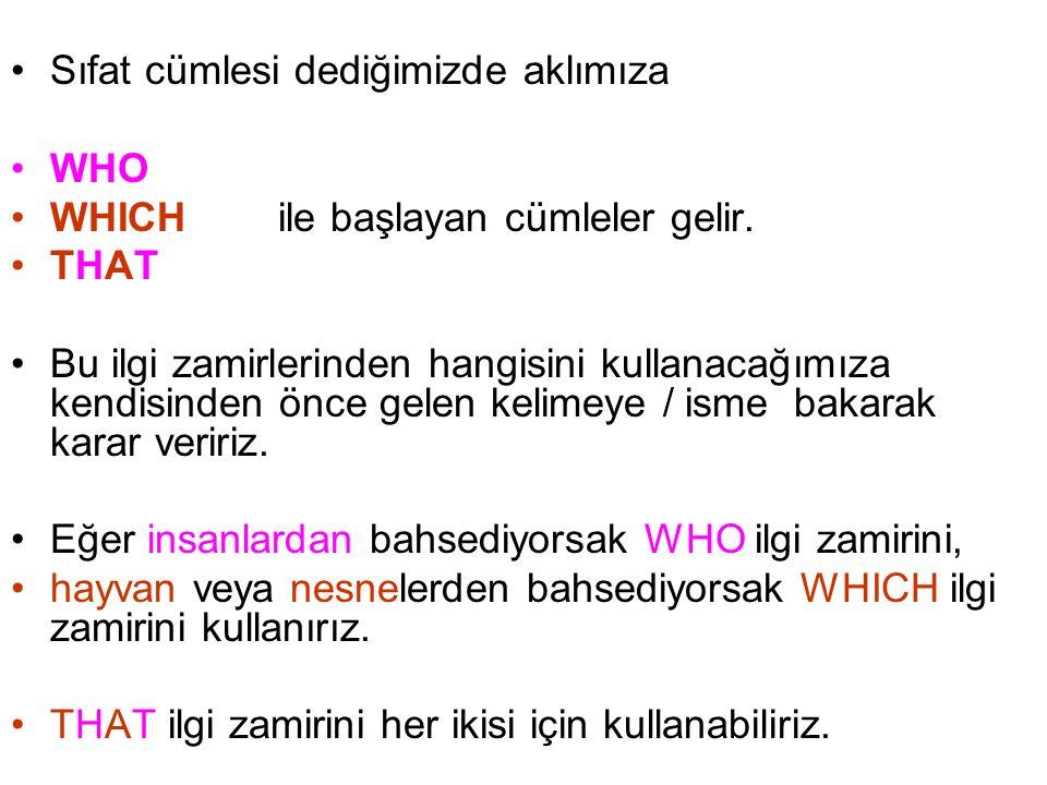 Sıfat cümlesi dediğimizde aklımıza WHO WHICH ile başlayan cümleler gelir.