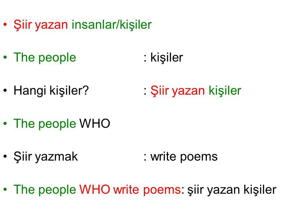 Şiir yazan insanlar/kişiler The people: kişiler Hangi kişiler? : Şiir yazan kişiler The people WHO Şiir yazmak: write poems The people WHO write poems