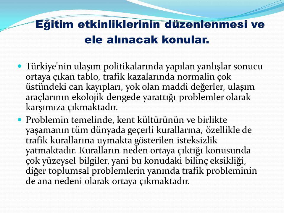 Eğitim etkinliklerinin düzenlenmesi ve ele alınacak konular. Türkiye'nin ulaşım politikalarında yapılan yanlışlar sonucu ortaya çıkan tablo, trafik ka