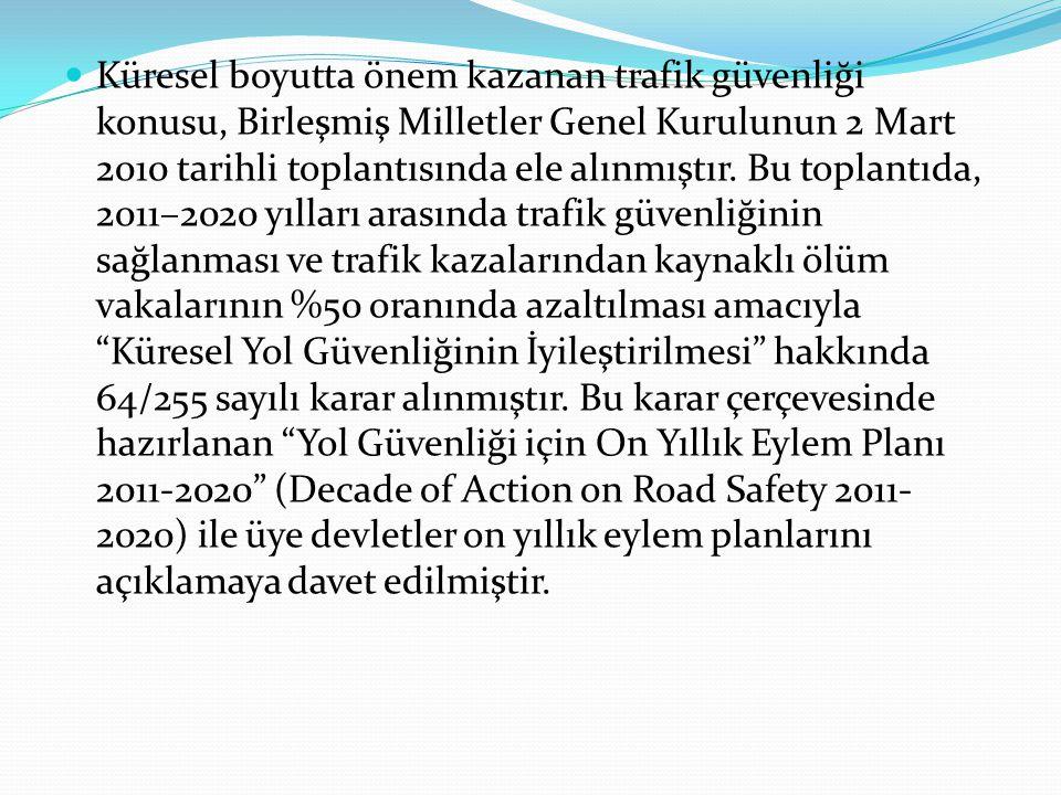 Küresel boyutta önem kazanan trafik güvenliği konusu, Birleşmiş Milletler Genel Kurulunun 2 Mart 2010 tarihli toplantısında ele alınmıştır. Bu toplant