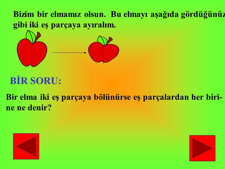 Bizim bir elmamız olsun. Bu elmayı aşağıda gördüğünüz gibi iki eş parçaya ayıralım. BİR SORU: Bir elma iki eş parçaya bölünürse eş parçalardan her bir