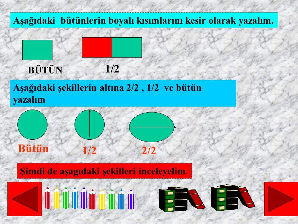 Aşağıdaki bütünlerin boyalı kısımlarını kesir olarak yazalım. Aşağıdaki şekillerin altına 2/2, 1/2 ve bütün yazalım BÜTÜN Şimdi de aşagıdaki şekilleri