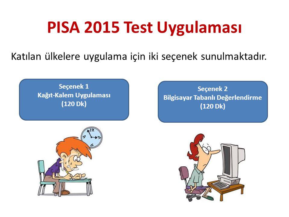 PISA 2015 Test Uygulaması Seçenek 1 Kağıt-Kalem Uygulaması (120 Dk) Seçenek 2 Bilgisayar Tabanlı Değerlendirme (120 Dk) Katılan ülkelere uygulama için