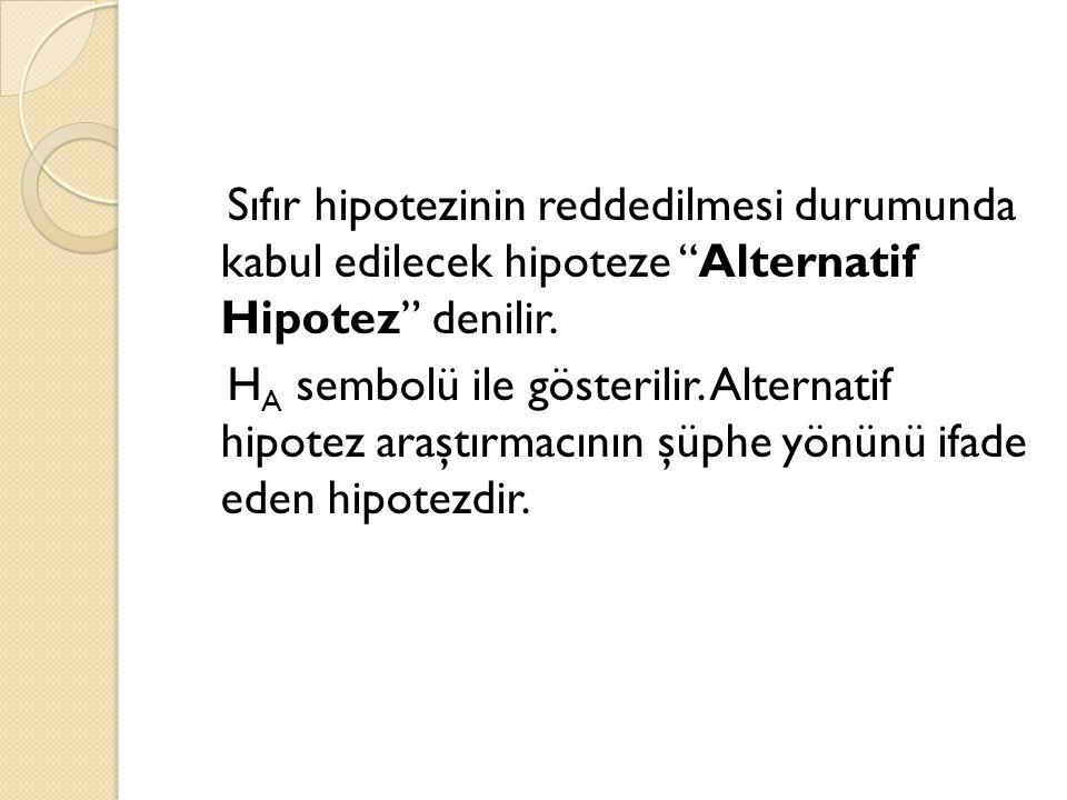 """Sıfır hipotezinin reddedilmesi durumunda kabul edilecek hipoteze """"Alternatif Hipotez"""" denilir. H A sembolü ile gösterilir. Alternatif hipotez araştırm"""