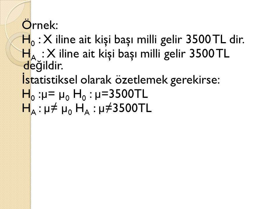 Örnek: H 0 : X iline ait kişi başı milli gelir 3500 TL dir. H A : X iline ait kişi başı milli gelir 3500 TL de ğ ildir. İ statistiksel olarak özetleme